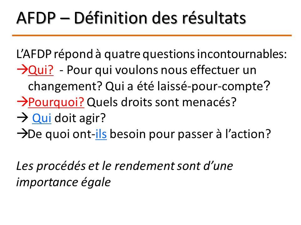 AFDP – Définition des résultats LAFDP répond à quatre questions incontournables: Qui? - Pour qui voulons nous effectuer un changement? Qui a été laiss
