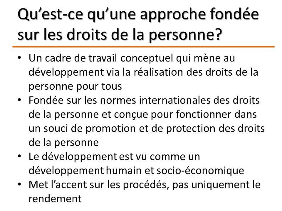 Quest-ce quune approche fondée sur les droits de la personne? Un cadre de travail conceptuel qui mène au développement via la réalisation des droits d