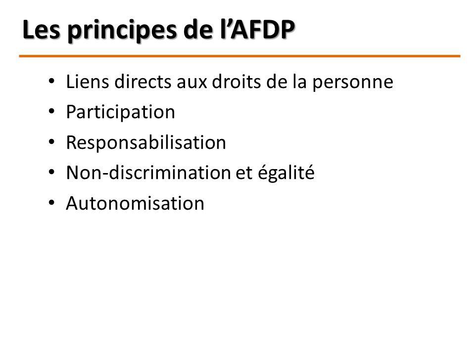 Les principes de lAFDP Liens directs aux droits de la personne Participation Responsabilisation Non-discrimination et égalité Autonomisation