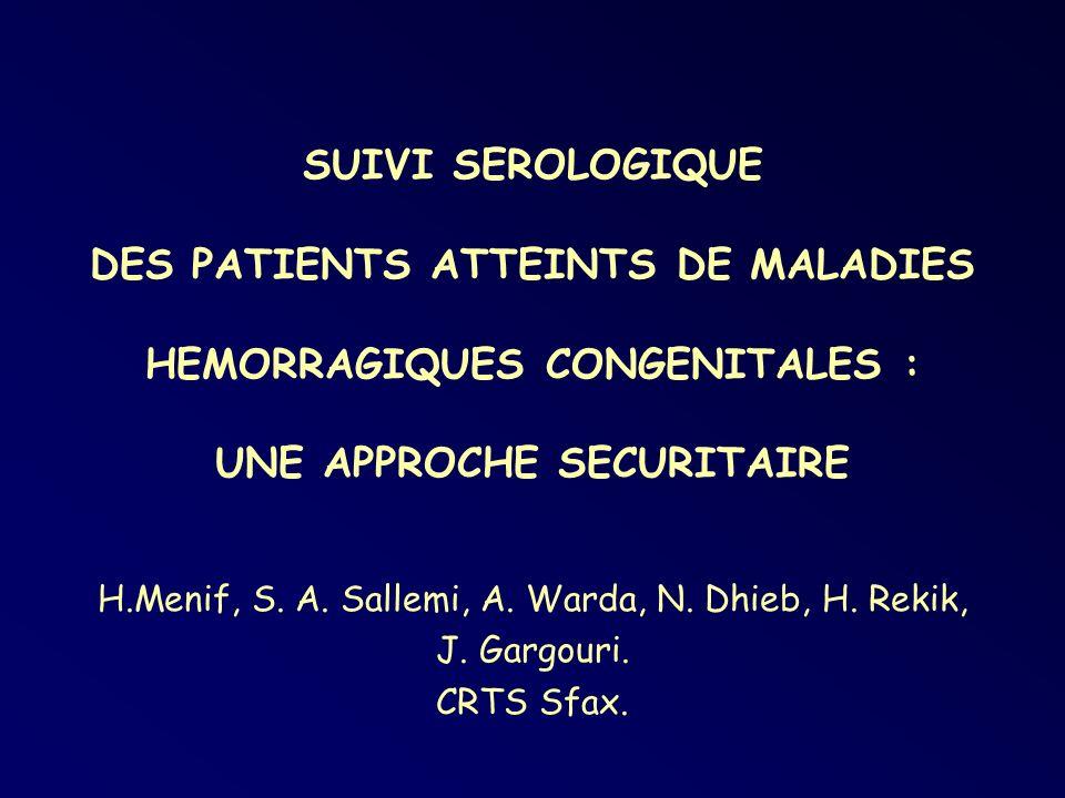 SUIVI SEROLOGIQUE DES PATIENTS ATTEINTS DE MALADIES HEMORRAGIQUES CONGENITALES : UNE APPROCHE SECURITAIRE H.Menif, S. A. Sallemi, A. Warda, N. Dhieb,