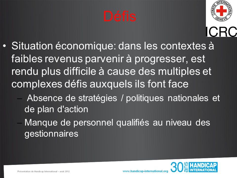 Défis Situation économique: dans les contextes à faibles revenus parvenir à progresser, est rendu plus difficile à cause des multiples et complexes dé