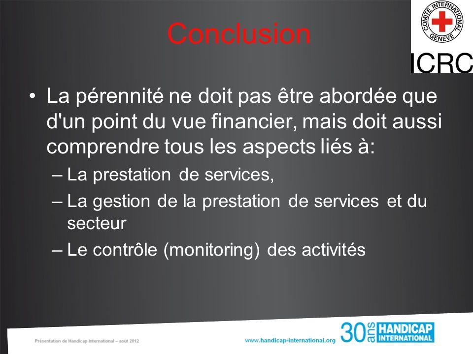 Conclusion La pérennité ne doit pas être abordée que d'un point du vue financier, mais doit aussi comprendre tous les aspects liés à: –La prestation d