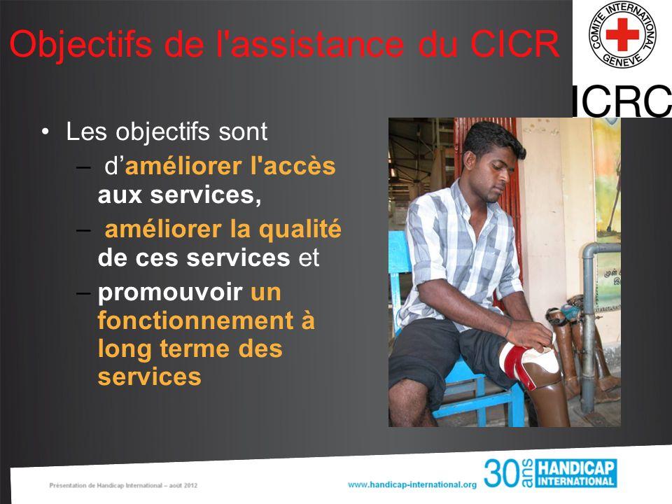 Objectifs de l'assistance du CICR Les objectifs sont – daméliorer l'accès aux services, – améliorer la qualité de ces services et –promouvoir un fonct