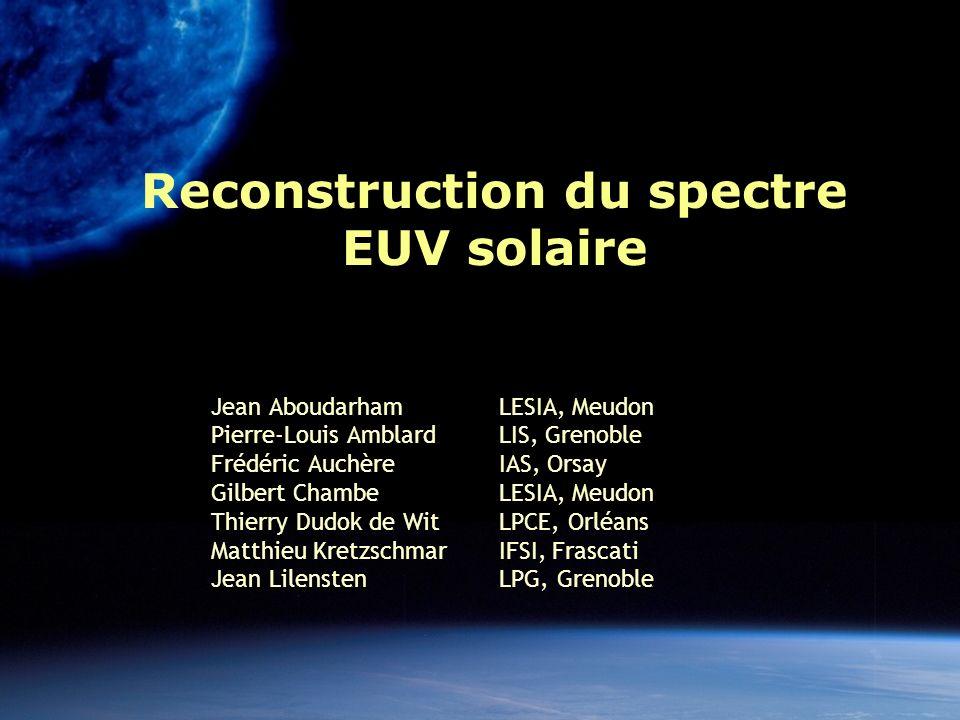 MEDOC 11/04 22 Bilan Irradiance EUV = un paramètre-clé Pour la spécification de lionosphère/thermosphère Pour la physique solaire Lien avec le climat Plusieurs instruments dédiés sont prévus (SWAP, Lyra, SDO, SO, … ), mais la mesure à long terme reste un probl è me.