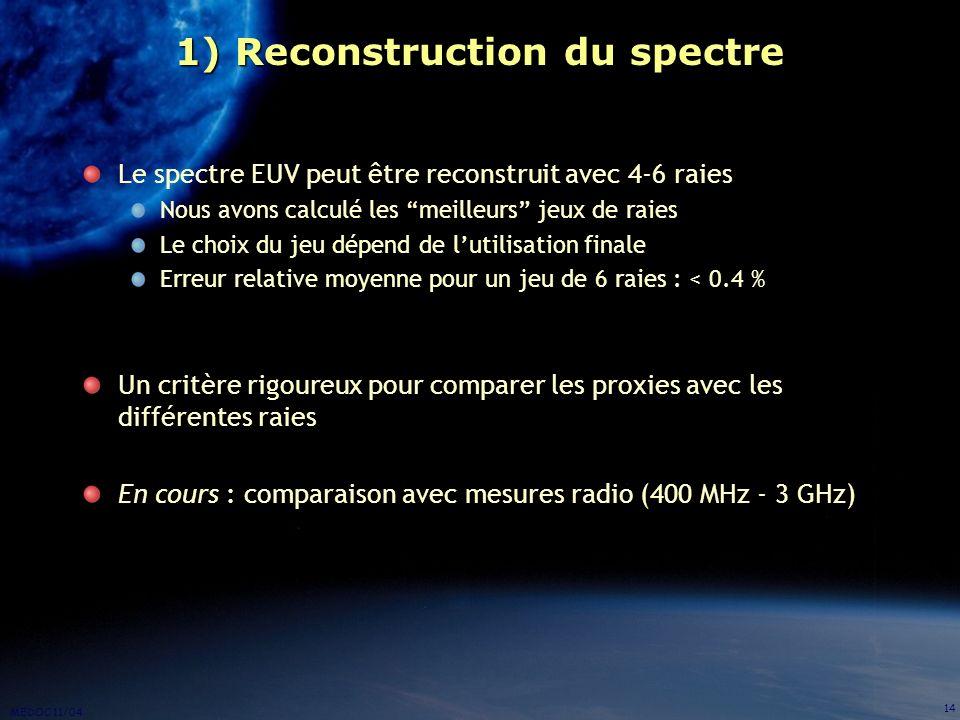 MEDOC 11/04 14 1) Reconstruction du spectre Le spectre EUV peut être reconstruit avec 4-6 raies Nous avons calculé les meilleurs jeux de raies Le choi