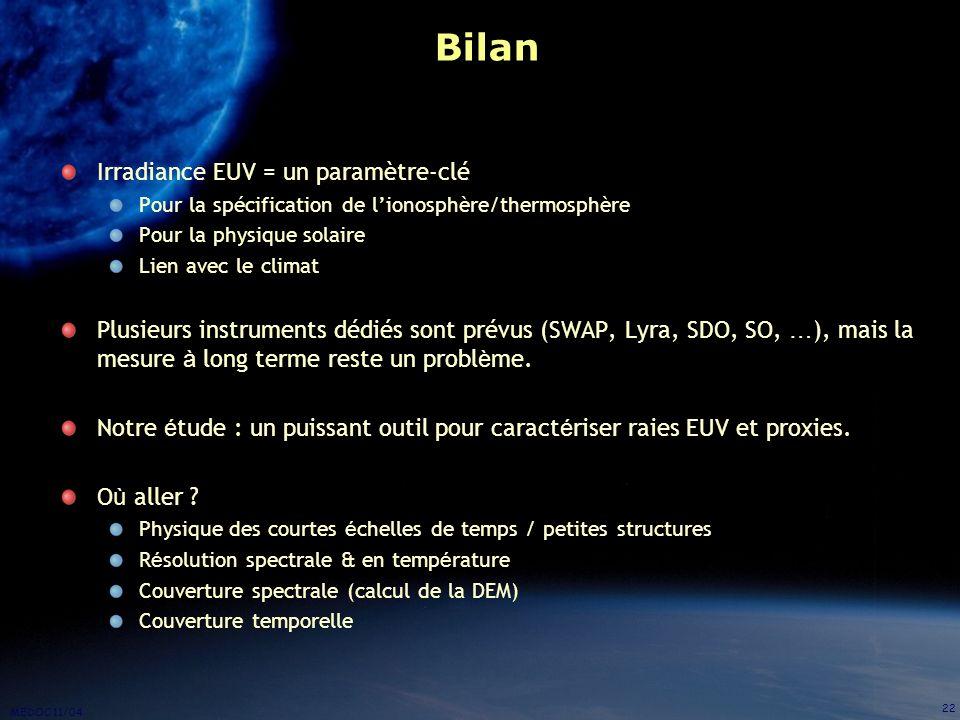 MEDOC 11/04 22 Bilan Irradiance EUV = un paramètre-clé Pour la spécification de lionosphère/thermosphère Pour la physique solaire Lien avec le climat