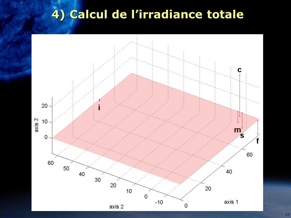 MEDOC 11/04 24 4) Calcul de lirradiance totale