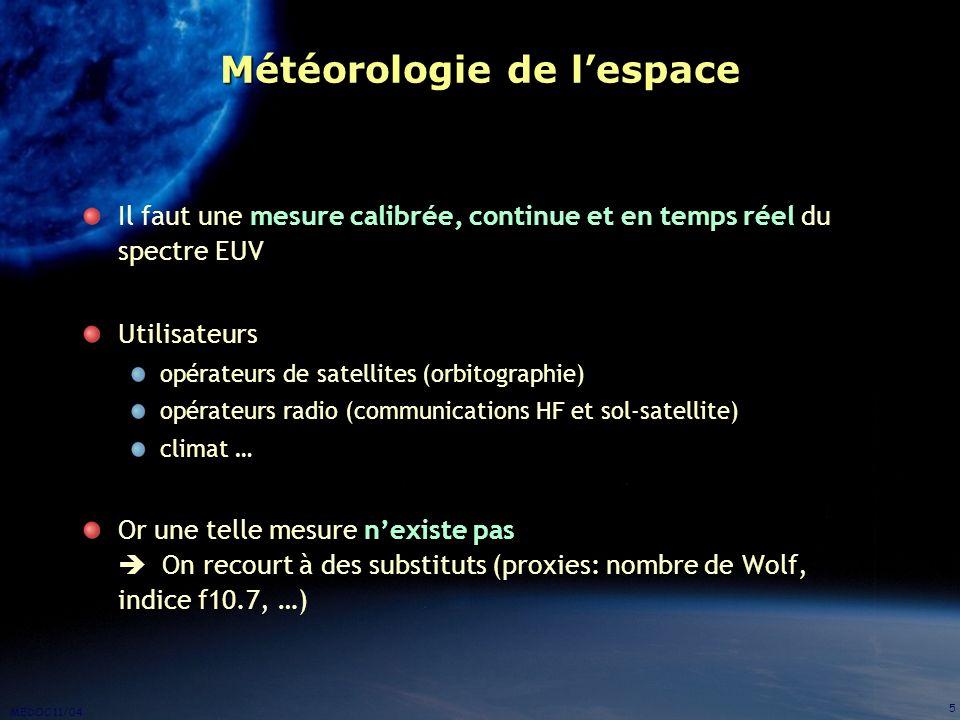MEDOC 11/04 5 Météorologie de lespace Il faut une mesure calibrée, continue et en temps réel du spectre EUV Utilisateurs opérateurs de satellites (orb