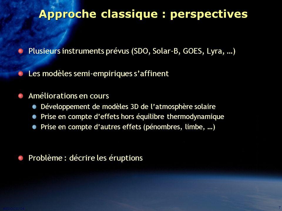 MEDOC 11/04 7 Approche classique : perspectives Plusieurs instruments prévus (SDO, Solar-B, GOES, Lyra, …) Les modèles semi-empiriques saffinent Améli