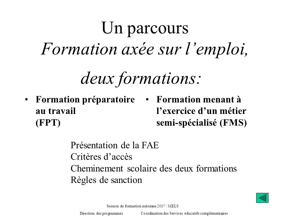 Un parcours Formation axée sur lemploi, Formation préparatoire au travail (FPT) Formation menant à lexercice dun métier semi-spécialisé (FMS) deux for