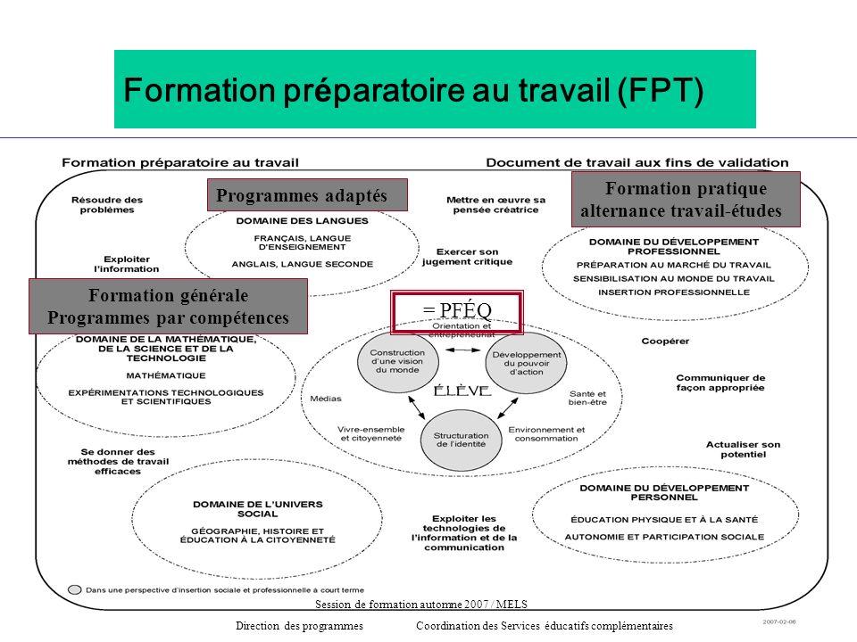 Formation pr é paratoire au travail (FPT) Programmes adaptés = PFÉQ Formation générale Programmes par compétences Formation pratique alternance travai