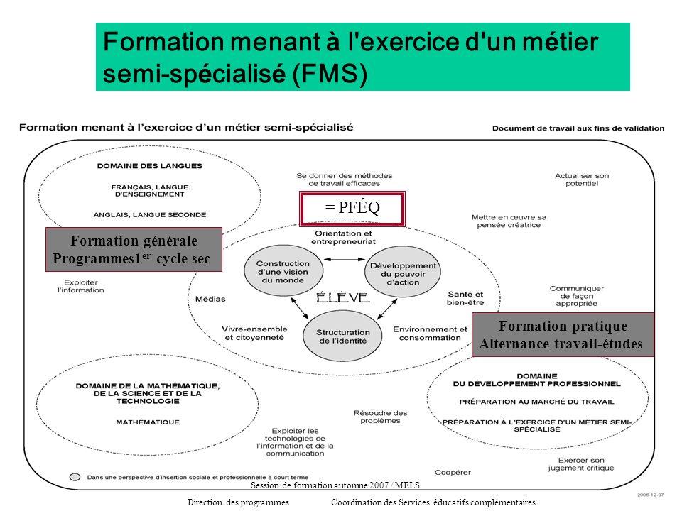 Formation menant à l'exercice d'un m é tier semi-sp é cialis é (FMS) = PFÉQ Formation générale Programmes1 er cycle sec Formation pratique Alternance