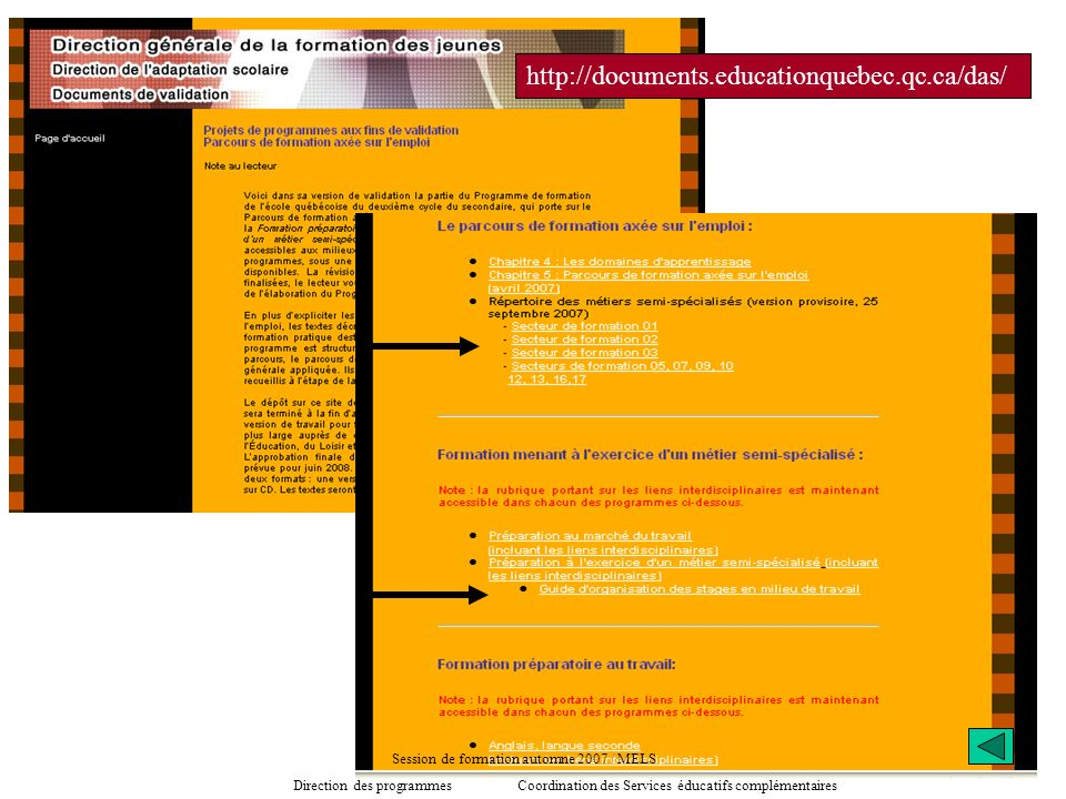http://documents.educationquebec.qc.ca/das/ Session de formation automne 2007 / MELS Direction des programmes Coordination des Services éducatifs comp