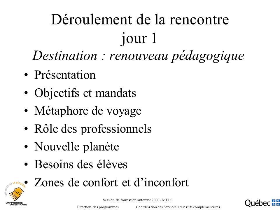 Déroulement de la rencontre jour 1 Destination : renouveau pédagogique Présentation Objectifs et mandats Métaphore de voyage Rôle des professionnels N