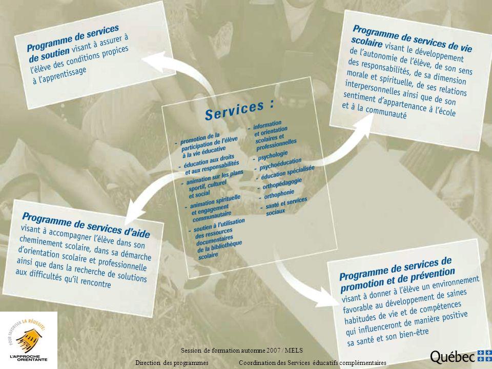 Session de formation automne 2007 / MELS Direction des programmes Coordination des Services éducatifs complémentaires