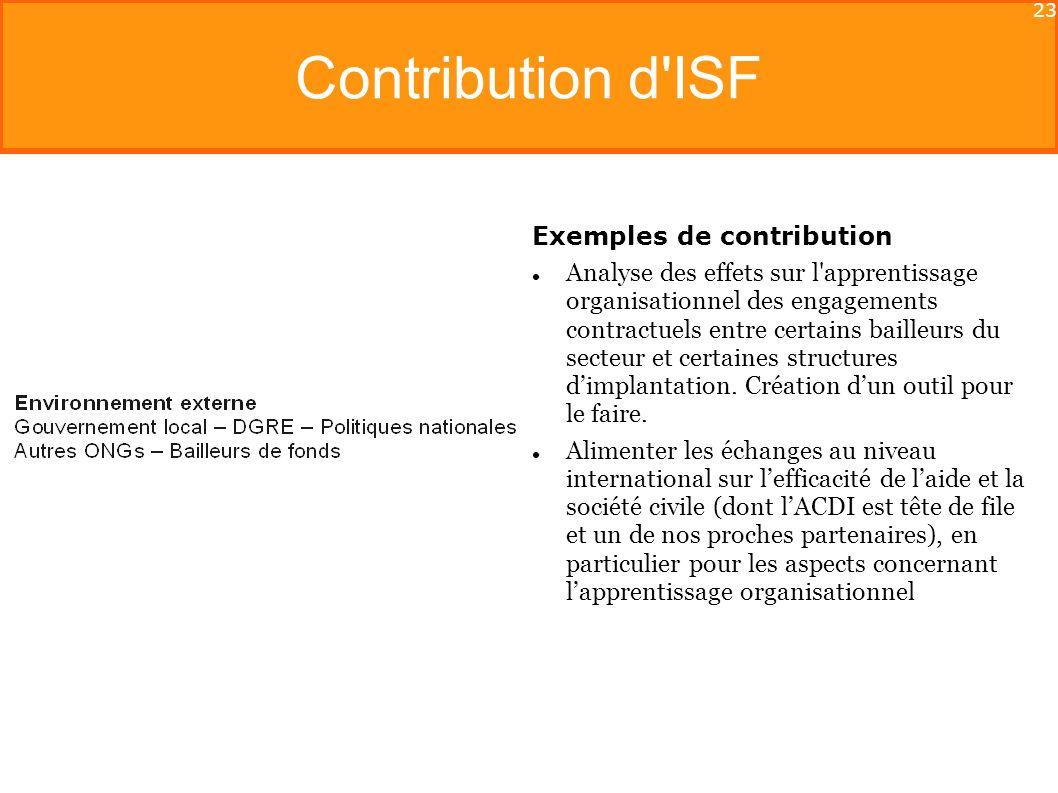 23 Contribution d ISF Exemples de contribution Analyse des effets sur l apprentissage organisationnel des engagements contractuels entre certains bailleurs du secteur et certaines structures dimplantation.
