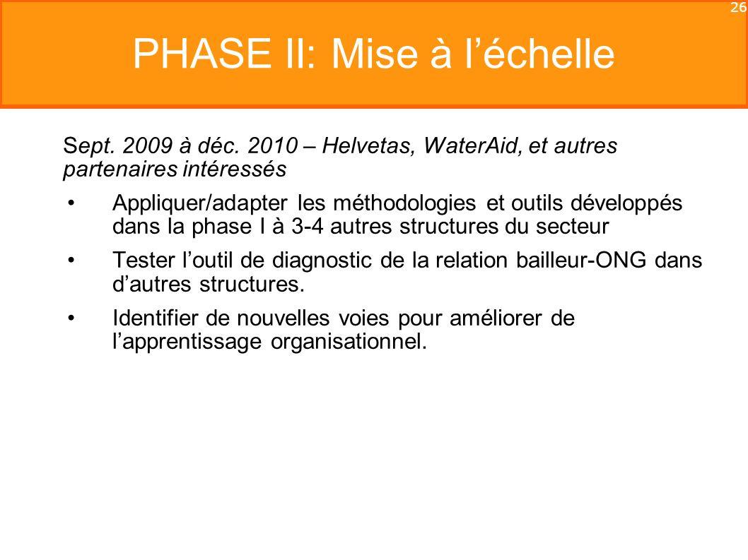 26 PHASE II: Mise à léchelle Sept. 2009 à déc.
