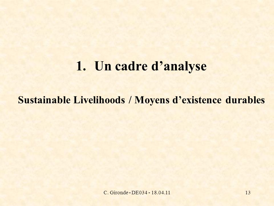 C. Gironde - DE034 - 18.04.1113 1.Un cadre danalyse Sustainable Livelihoods / Moyens dexistence durables