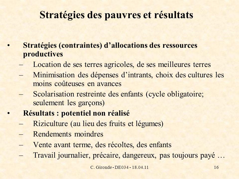 C. Gironde - DE034 - 18.04.1116 Stratégies des pauvres et résultats Stratégies (contraintes) dallocations des ressources productives –Location de ses