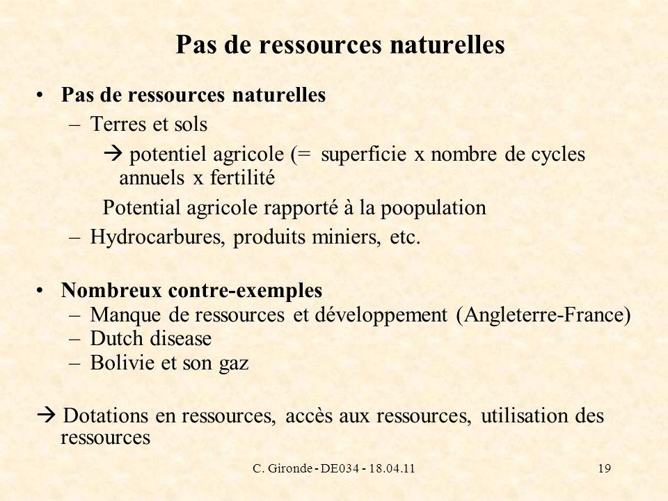 C. Gironde - DE034 - 18.04.1119 Pas de ressources naturelles –Terres et sols potentiel agricole (= superficie x nombre de cycles annuels x fertilité P