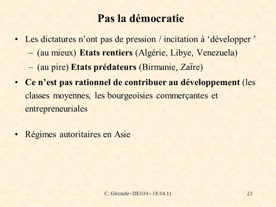 C. Gironde - DE034 - 18.04.1123 Pas la démocratie Les dictatures nont pas de pression / incitation à développer –(au mieux) Etats rentiers (Algérie, L