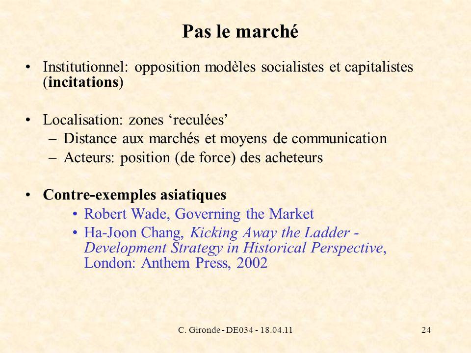 C. Gironde - DE034 - 18.04.1124 Pas le marché Institutionnel: opposition modèles socialistes et capitalistes (incitations) Localisation: zones reculée