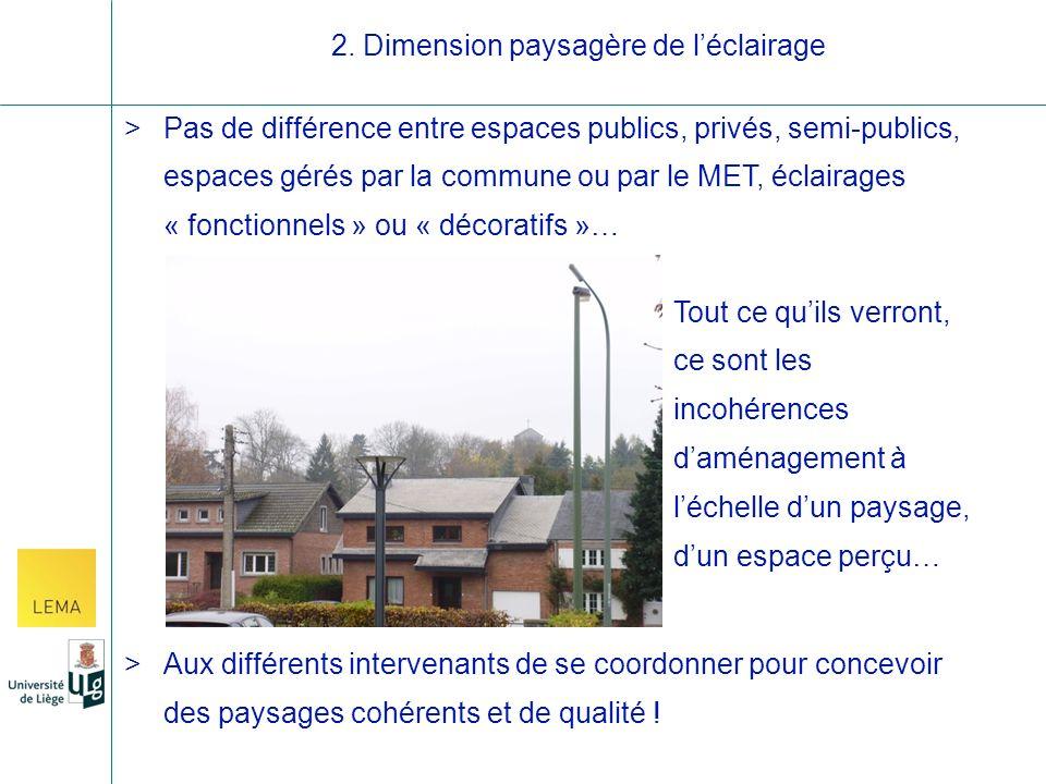 >Pas de différence entre espaces publics, privés, semi-publics, espaces gérés par la commune ou par le MET, éclairages « fonctionnels » ou « décoratifs »… >Aux différents intervenants de se coordonner pour concevoir des paysages cohérents et de qualité .