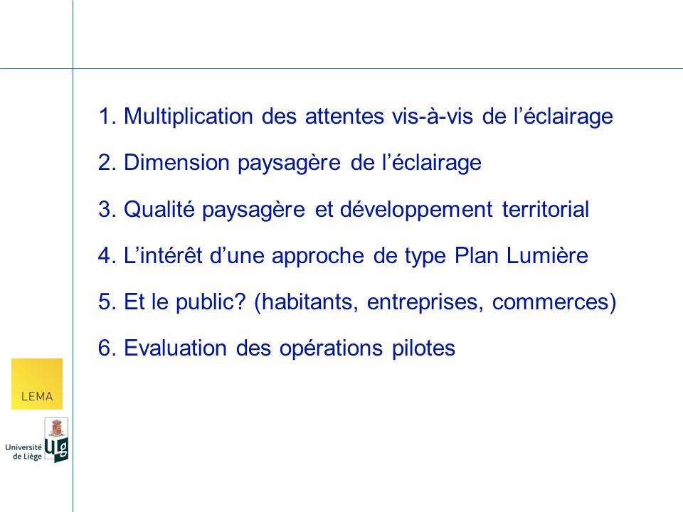 1.Multiplication des attentes vis-à-vis de léclairage 2.Dimension paysagère de léclairage 3.Qualité paysagère et développement territorial 4.Lintérêt dune approche de type Plan Lumière 5.Et le public.