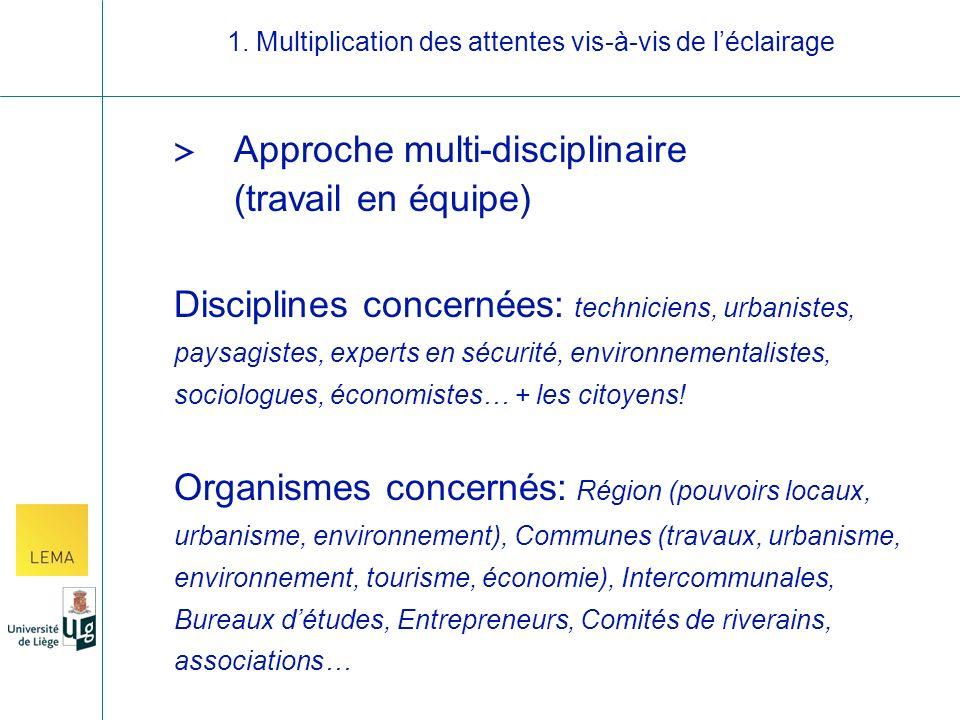 > Approche multi-disciplinaire (travail en équipe) Disciplines concernées: techniciens, urbanistes, paysagistes, experts en sécurité, environnementalistes, sociologues, économistes… + les citoyens.