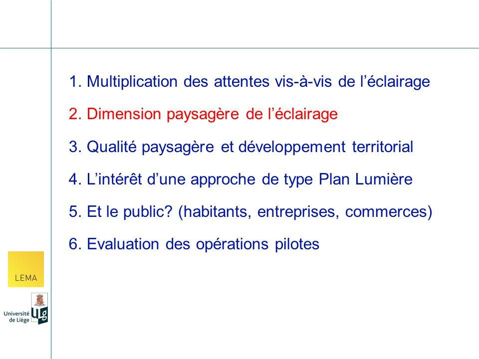2.Dimension paysagère de léclairage 3.Qualité paysagère et développement territorial 4.Lintérêt dune approche de type Plan Lumière 5.Et le public.