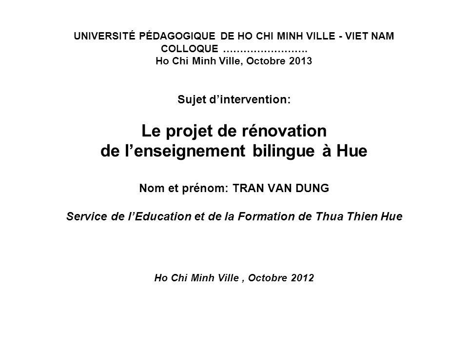 UNIVERSITÉ PÉDAGOGIQUE DE HO CHI MINH VILLE - VIET NAM COLLOQUE …………………….