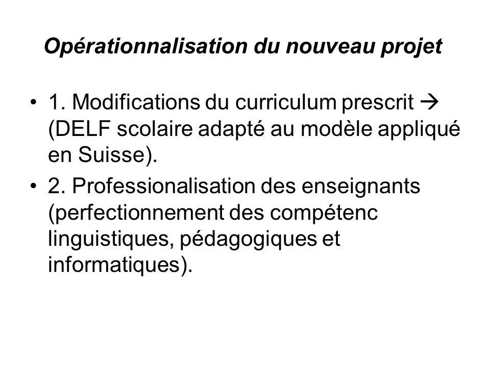 Opérationnalisation du nouveau projet 1.