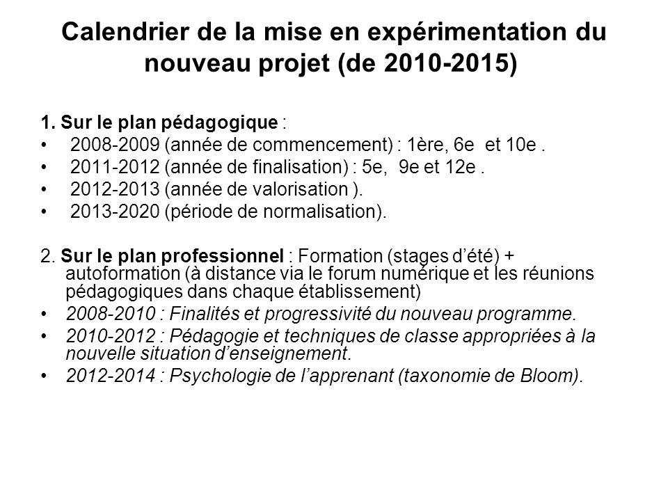 Calendrier de la mise en expérimentation du nouveau projet (de 2010-2015) 1.