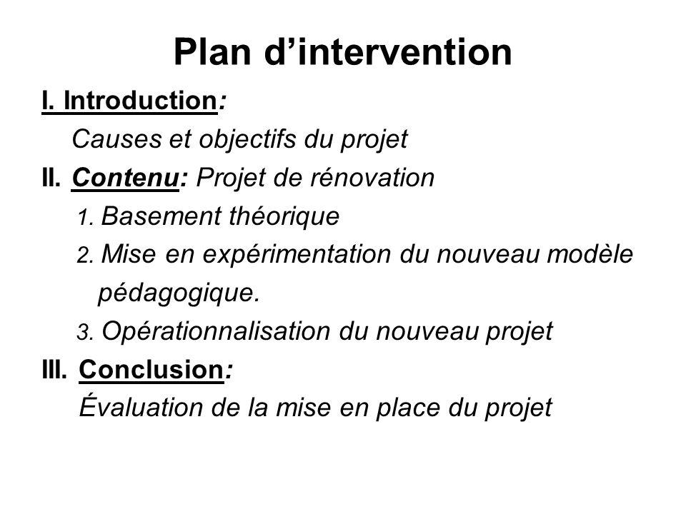 Plan dintervention I.Introduction: Causes et objectifs du projet II.