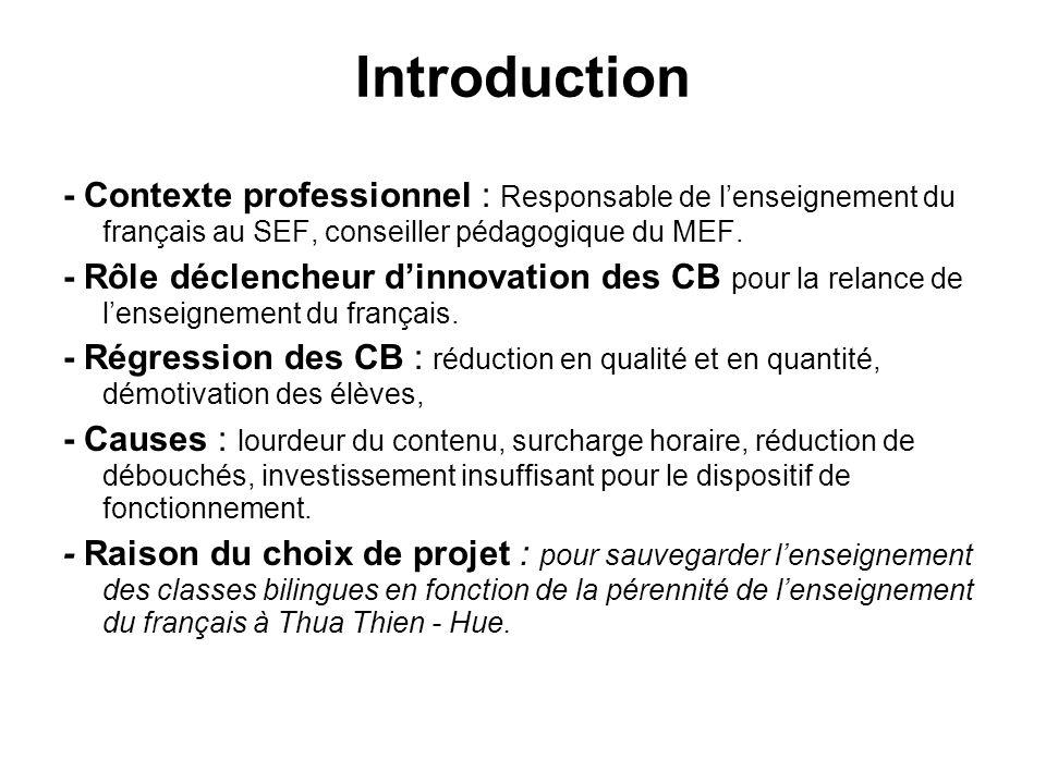 Introduction - Contexte professionnel : Responsable de lenseignement du français au SEF, conseiller pédagogique du MEF.