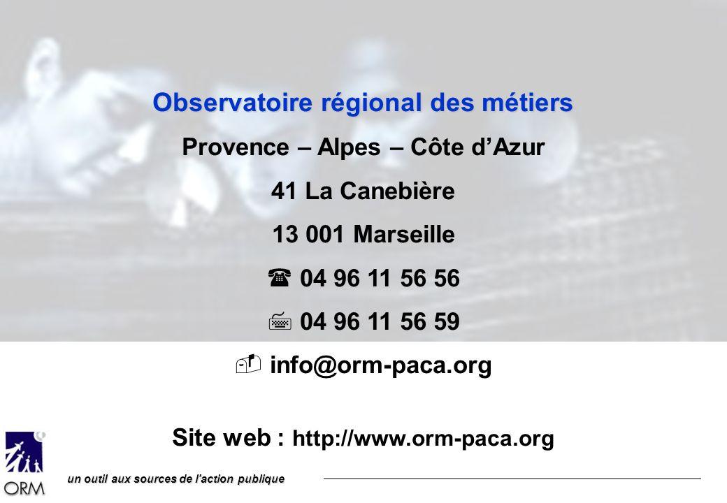 un outil aux sources de laction publique Observatoire régional des métiers Provence – Alpes – Côte dAzur 41 La Canebière 13 001 Marseille 04 96 11 56 56 04 96 11 56 59 info@orm-paca.org Site web : http://www.orm-paca.org