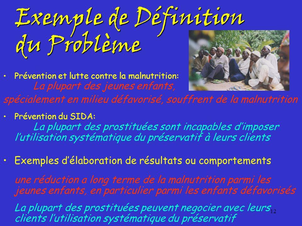12 Exemple de Définition du Problème Prévention et lutte contre la malnutrition: La plupart des jeunes enfants, spécialement en milieu défavorisé, sou