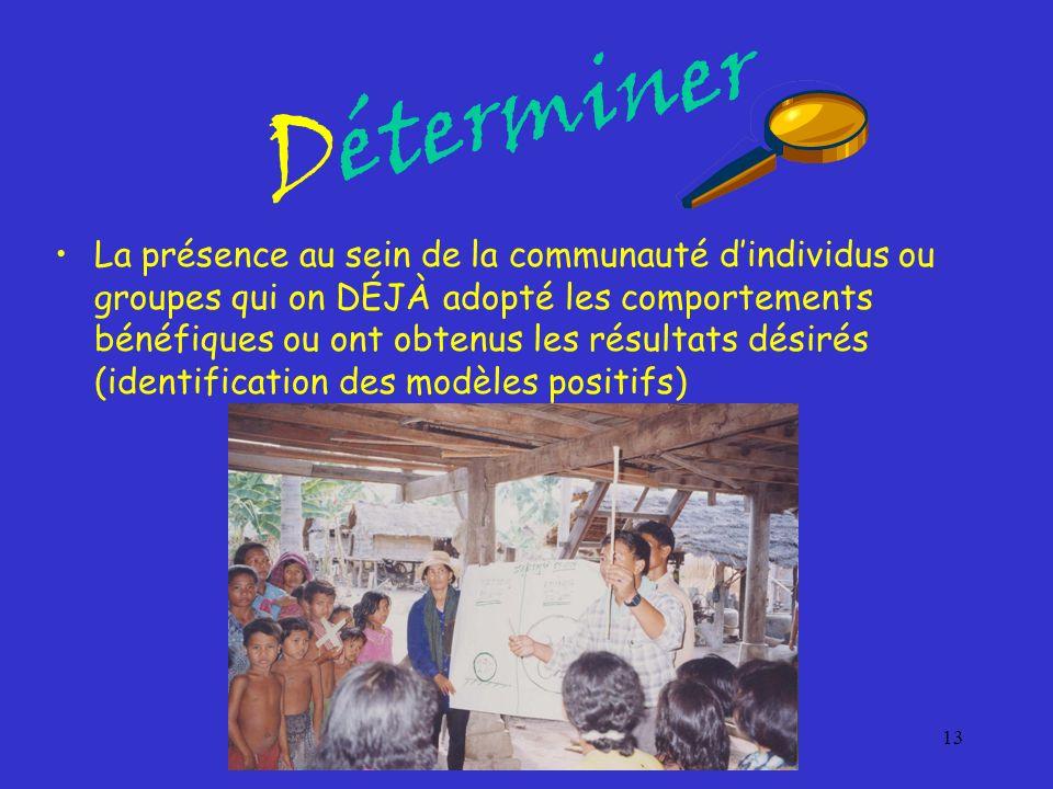 13 Déterminer La présence au sein de la communauté dindividus ou groupes qui on DÉJÀ adopté les comportements bénéfiques ou ont obtenus les résultats