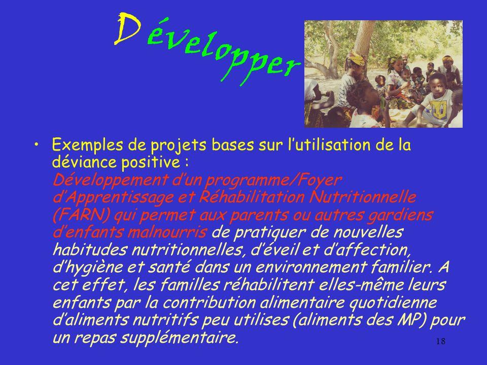 18 Exemples de projets bases sur lutilisation de la déviance positive : Développement dun programme/Foyer dApprentissage et Réhabilitation Nutritionne