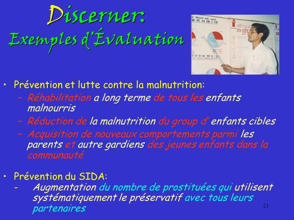 21 Discerner: Exemples dÉvaluation Prévention et lutte contre la malnutrition: –Réhabilitation a long terme de tous les enfants malnourris –Réduction
