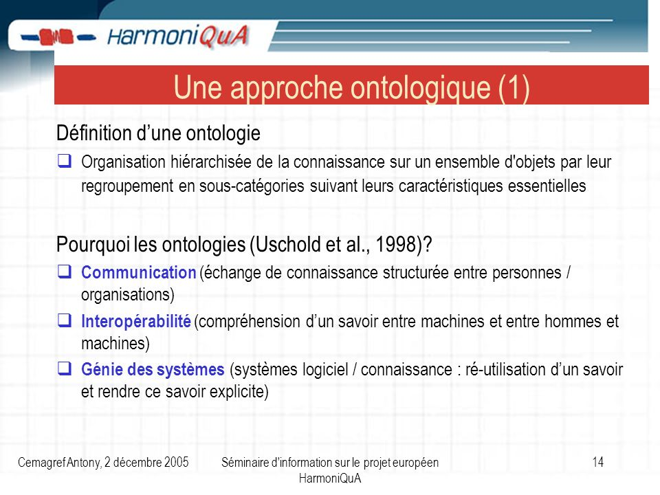 Cemagref Antony, 2 décembre 2005Séminaire d information sur le projet européen HarmoniQuA 14 Une approche ontologique (1) Définition dune ontologie Organisation hiérarchisée de la connaissance sur un ensemble d objets par leur regroupement en sous-catégories suivant leurs caractéristiques essentielles Pourquoi les ontologies (Uschold et al., 1998).