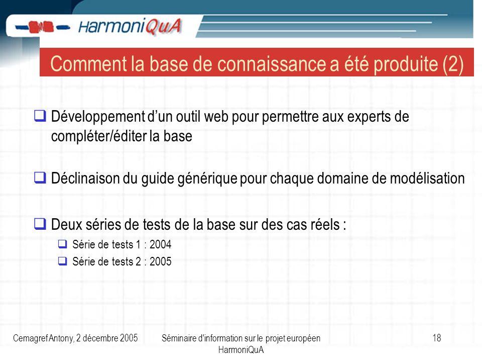 Cemagref Antony, 2 décembre 2005Séminaire d'information sur le projet européen HarmoniQuA 18 Développement dun outil web pour permettre aux experts de