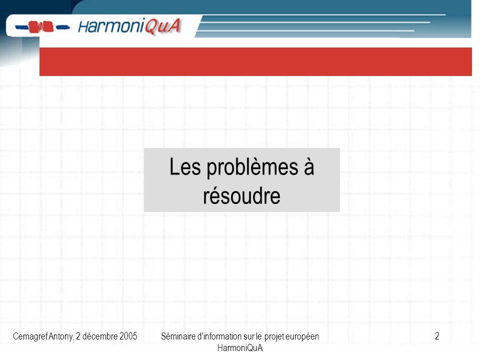 Cemagref Antony, 2 décembre 2005Séminaire d information sur le projet européen HarmoniQuA 2 Les problèmes à résoudre