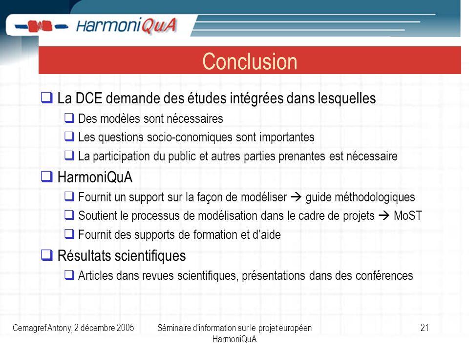 Cemagref Antony, 2 décembre 2005Séminaire d'information sur le projet européen HarmoniQuA 21 Conclusion La DCE demande des études intégrées dans lesqu