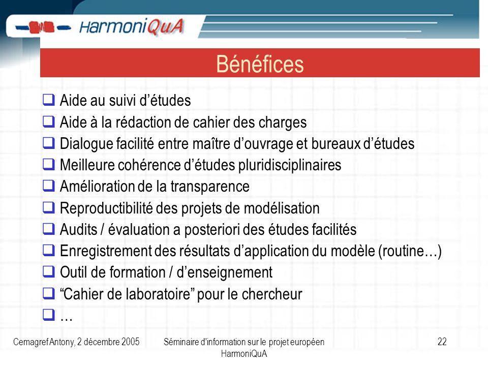 Cemagref Antony, 2 décembre 2005Séminaire d'information sur le projet européen HarmoniQuA 22 Bénéfices Aide au suivi détudes Aide à la rédaction de ca