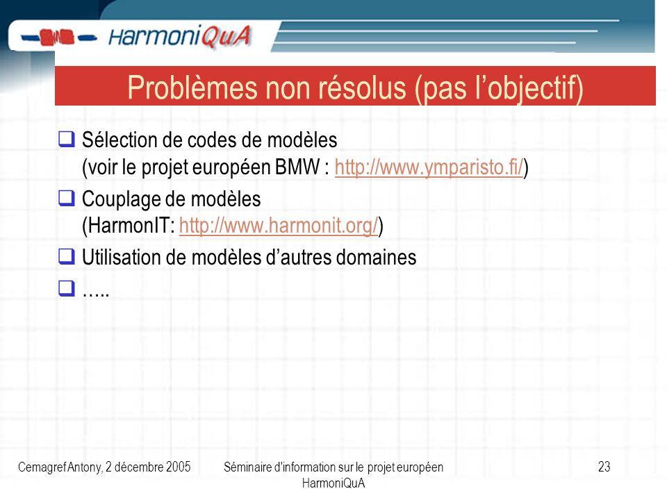 Cemagref Antony, 2 décembre 2005Séminaire d information sur le projet européen HarmoniQuA 23 Problèmes non résolus (pas lobjectif) Sélection de codes de modèles (voir le projet européen BMW : http://www.ymparisto.fi/)http://www.ymparisto.fi/ Couplage de modèles (HarmonIT: http://www.harmonit.org/)http://www.harmonit.org/ Utilisation de modèles dautres domaines …..