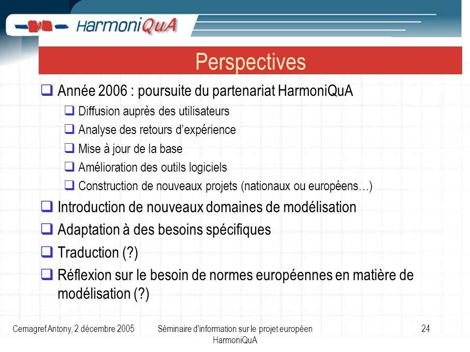 Cemagref Antony, 2 décembre 2005Séminaire d'information sur le projet européen HarmoniQuA 24 Perspectives Année 2006 : poursuite du partenariat Harmon