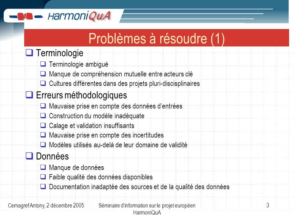 Cemagref Antony, 2 décembre 2005Séminaire d'information sur le projet européen HarmoniQuA 3 Problèmes à résoudre (1) Terminologie Terminologie ambiguë