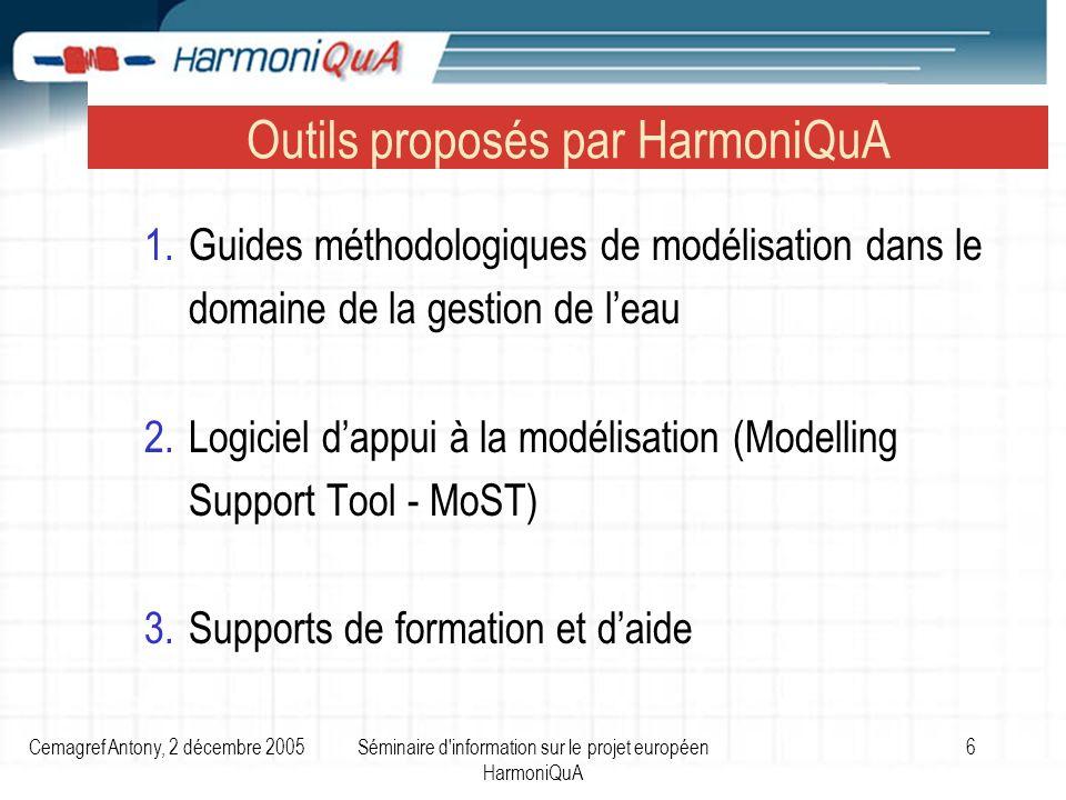 Cemagref Antony, 2 décembre 2005Séminaire d information sur le projet européen HarmoniQuA 6 Outils proposés par HarmoniQuA 1.Guides méthodologiques de modélisation dans le domaine de la gestion de leau 2.Logiciel dappui à la modélisation (Modelling Support Tool - MoST) 3.Supports de formation et daide