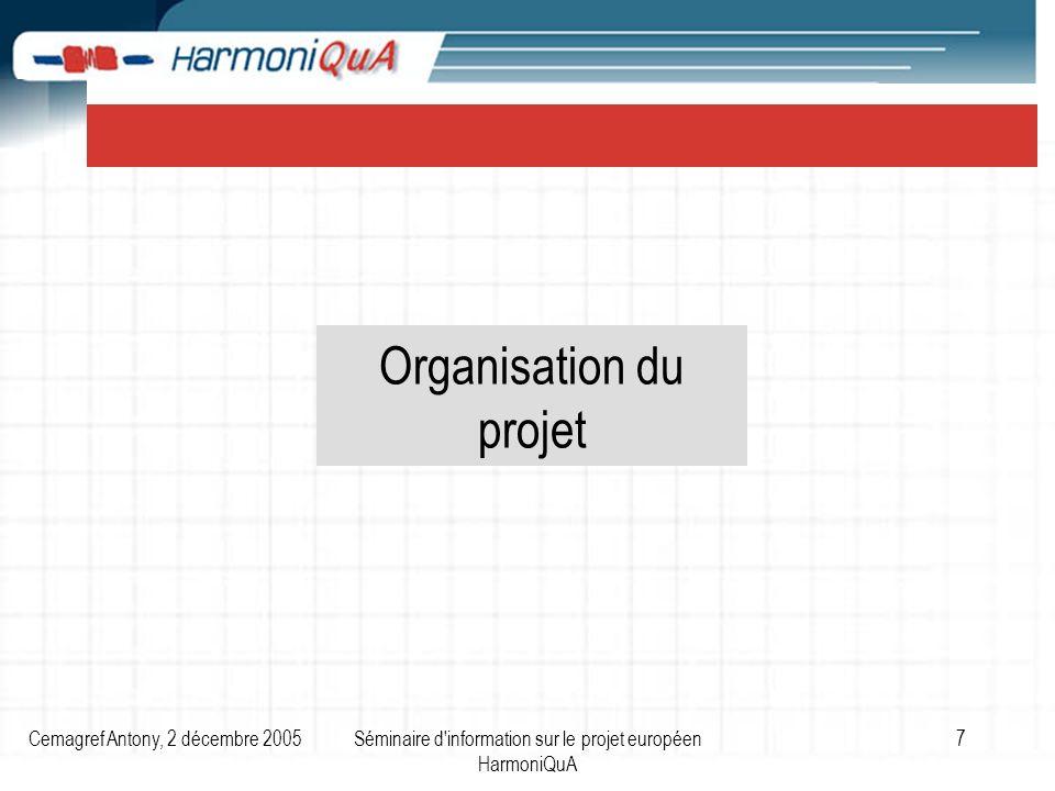 Cemagref Antony, 2 décembre 2005Séminaire d information sur le projet européen HarmoniQuA 7 Organisation du projet